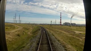 Trans-Siberian Railway driving by the clouds factory