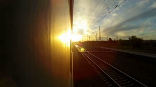 Trans-Siberian Railway during sunset
