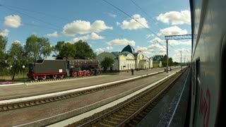 Trans-Siberian Railway train leaving station