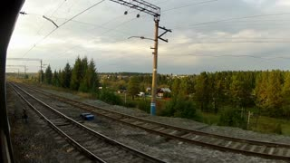 Trans-Siberian Railway train track with forest passing by
