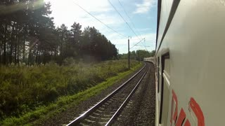 Trans-Siberian Railway trains driving in a corner in the forest