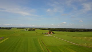 Aerial landscape from a farm around Laaksum in Friesland The Netherlands