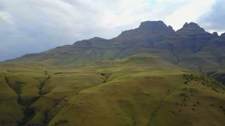 Aerial mountain landscape pan from the eastern portion of the Great Escarpment the Drakensberg in South Africa