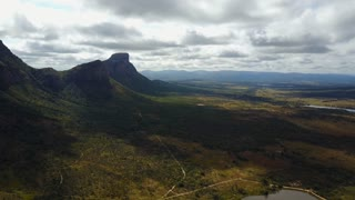 Aerial pan view from Waterberg mountain range landscape in South Africa