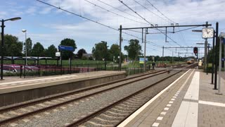 NS train arriving at the station in Putten The Netherlands