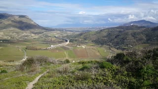 View from the Doric temple of Segesta in Italy