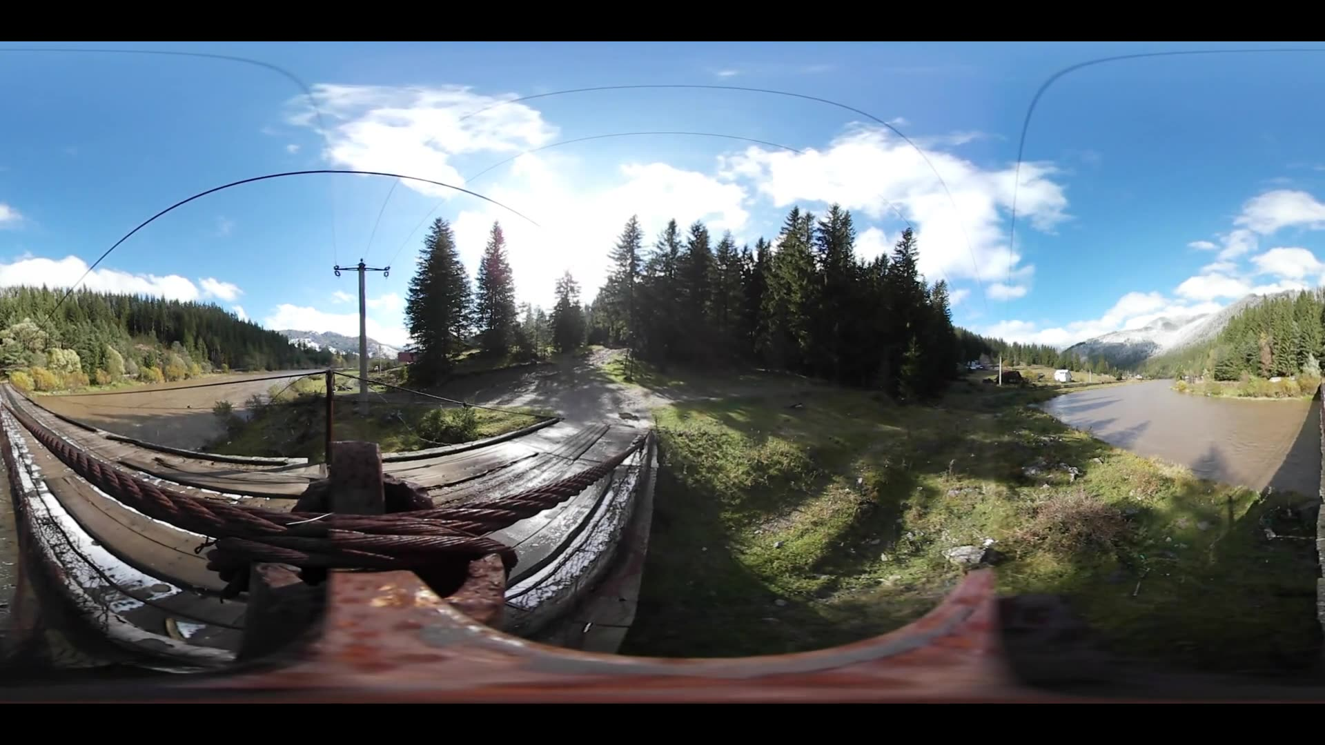 Virtual Reality 360 from a bridge over a river in the Carpathian Mountains Romania