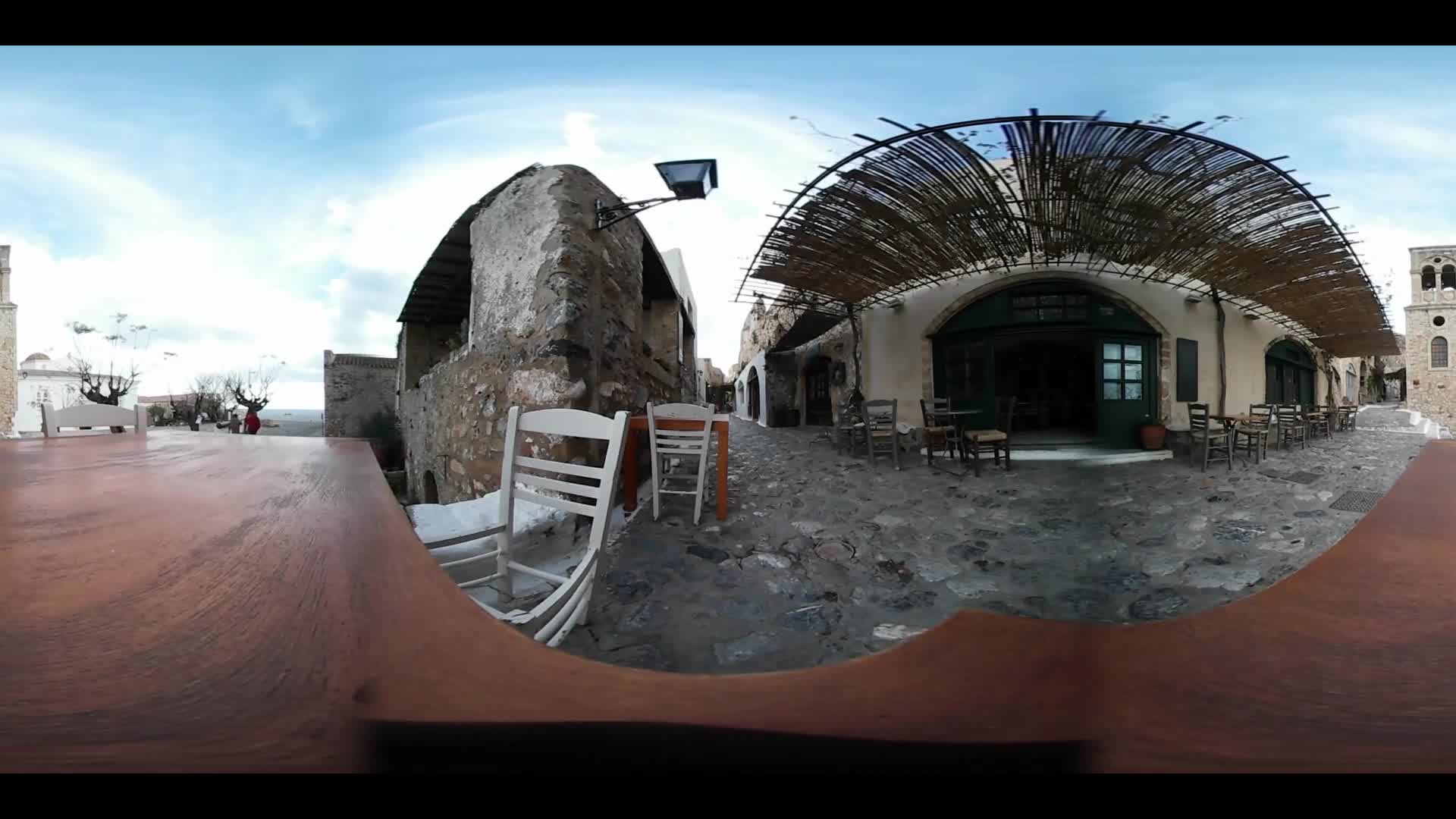Virtual Reality 360 view from a restaurant in Monemvasia Greece