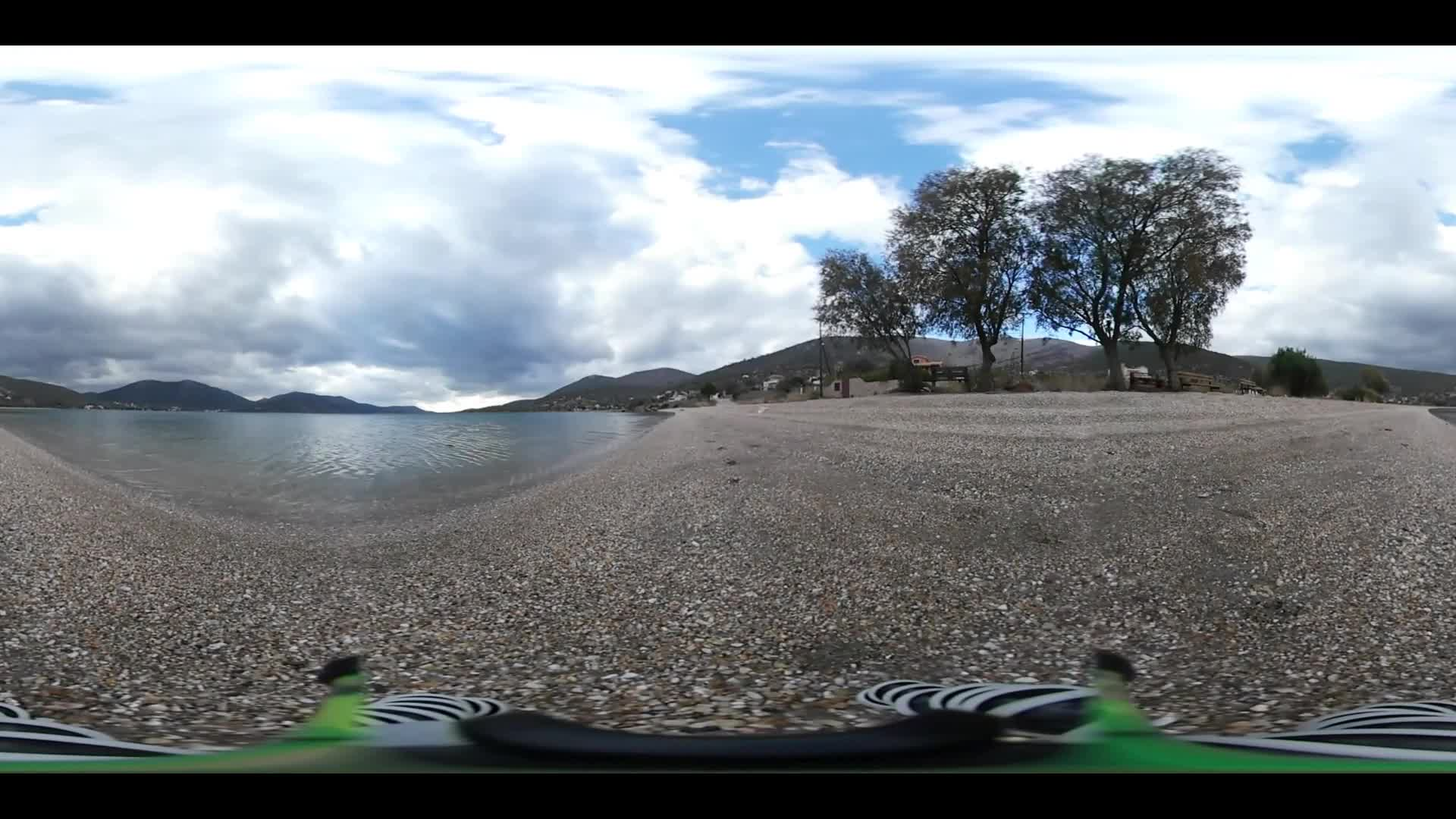 Virtual Reality 360 view from Agrio Livadi Beach in Greece