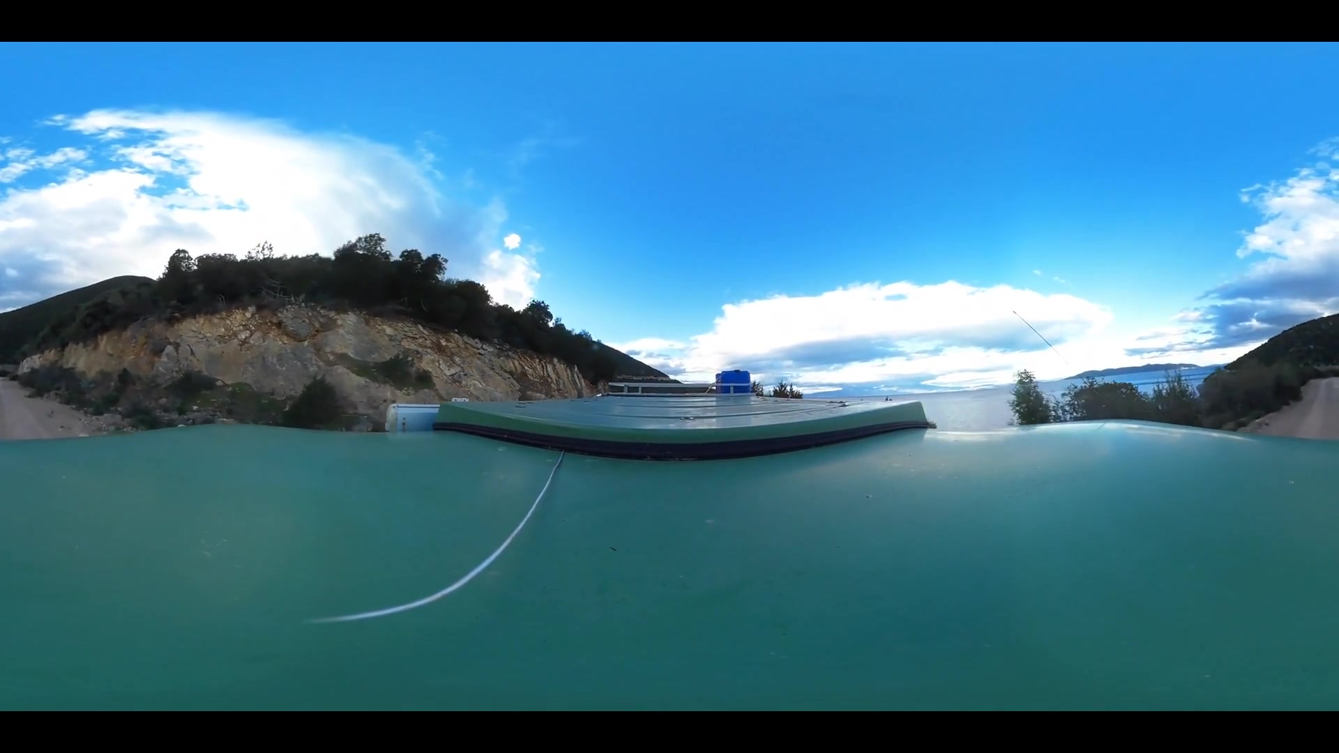 Virtual Reality 360 view from driving around Amaliapoli Greece