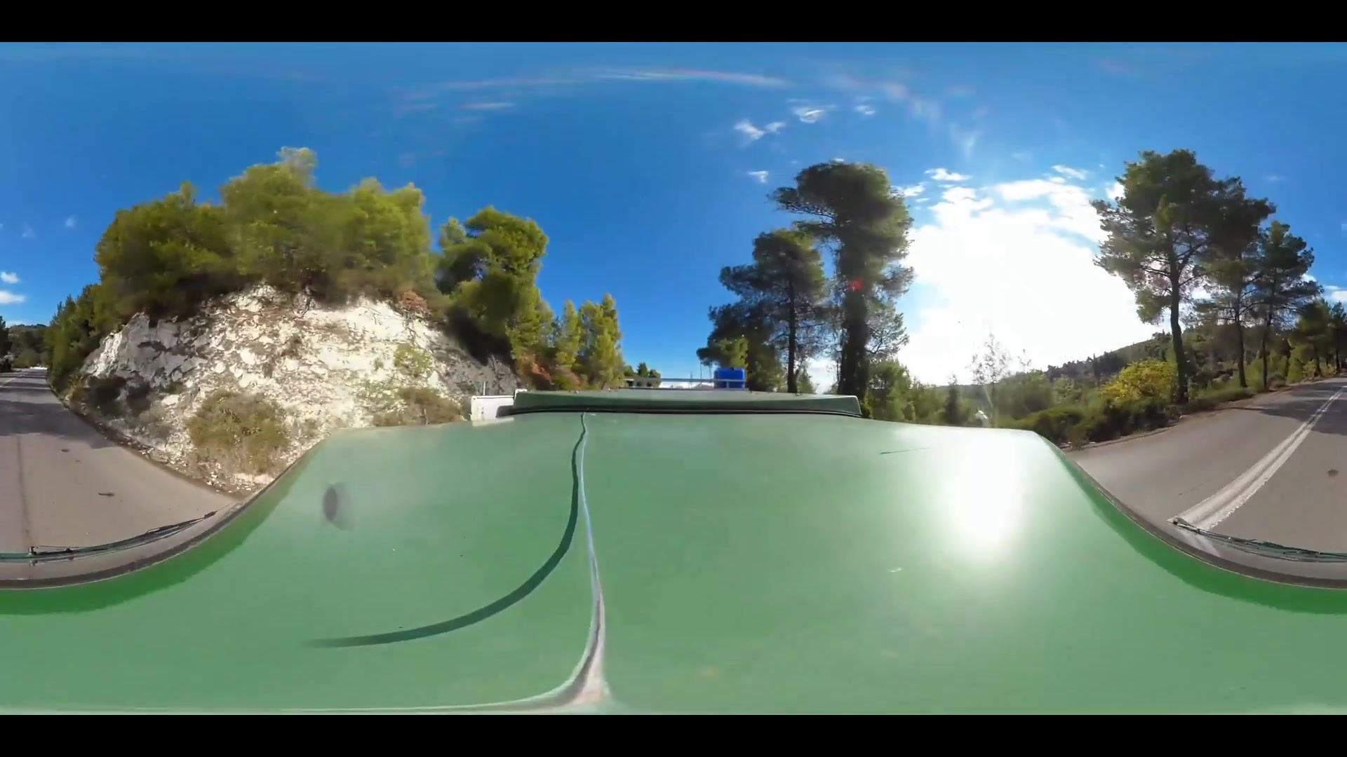 Virtual Reality 360 view from driving around Limni Greece