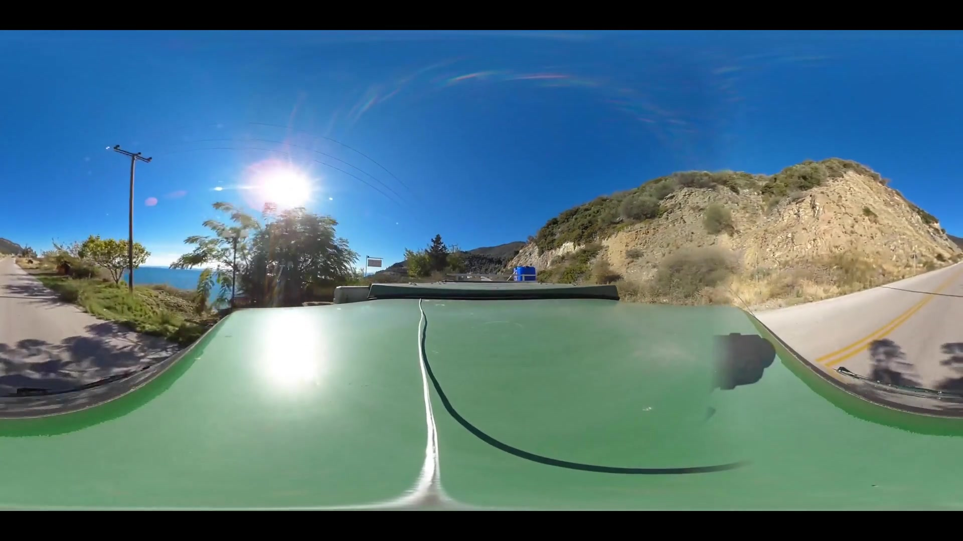 Virtual Reality 360 view from driving around Loutra Greece