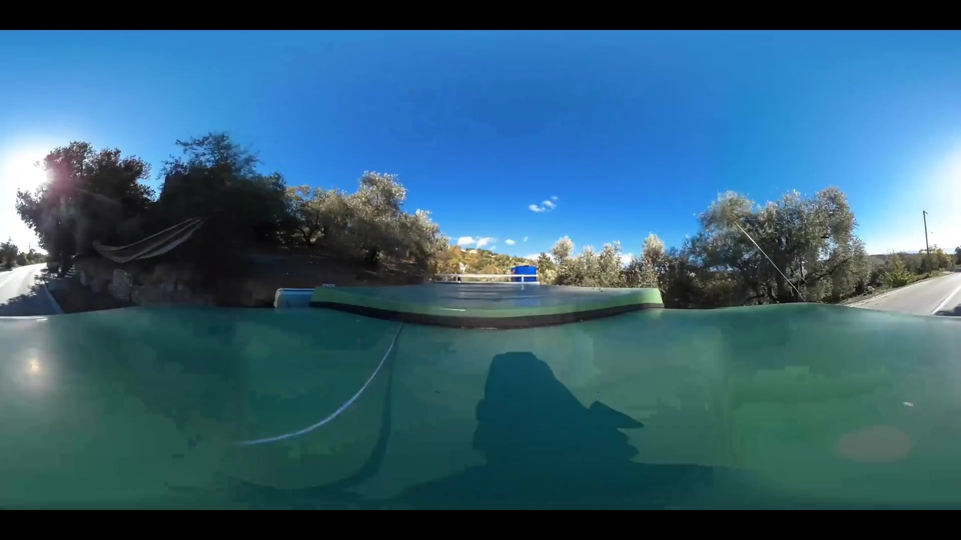 Virtual Reality 360 view from driving around Milies Greece