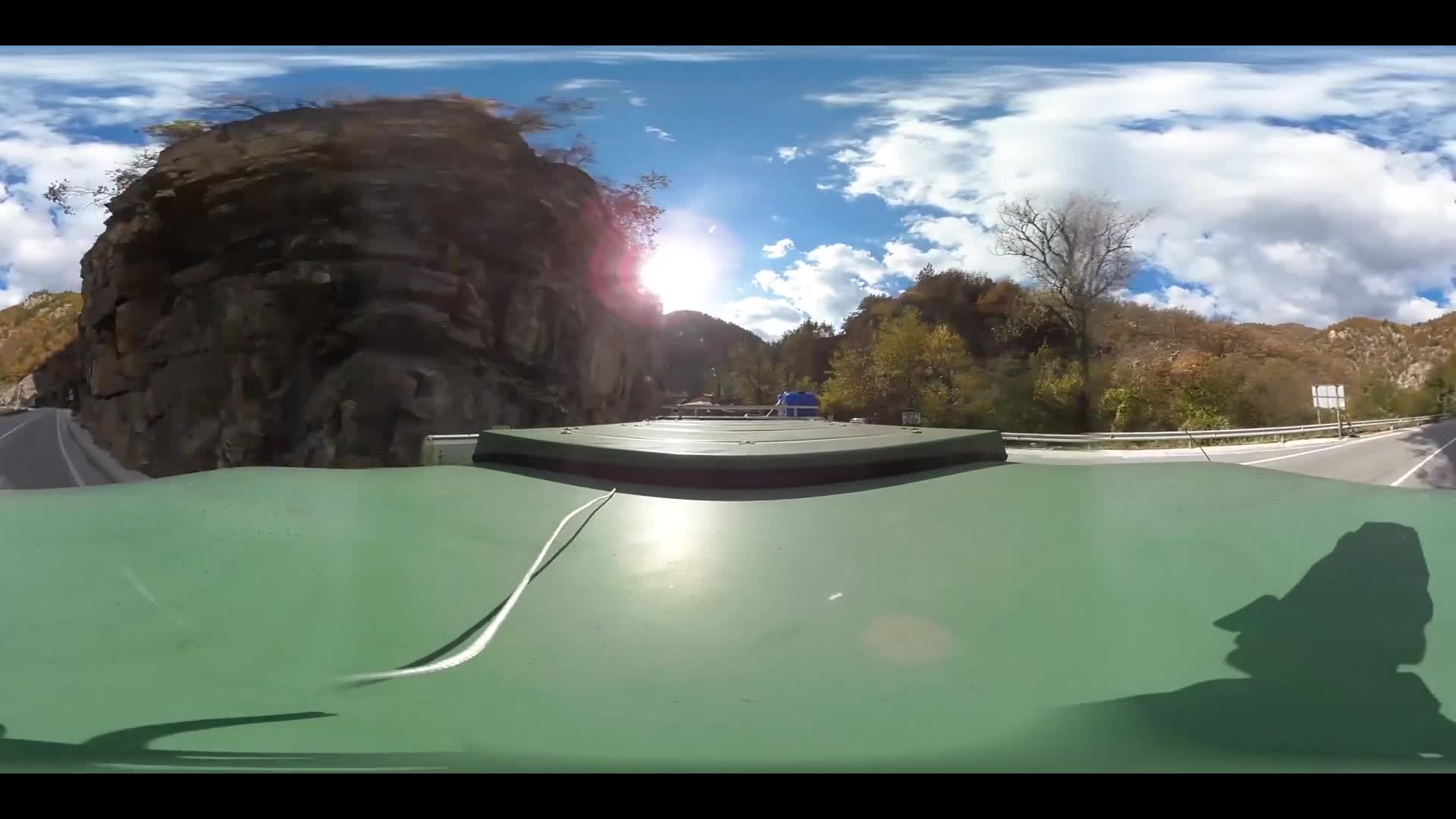 Virtual Reality 360 view from driving through Rhodope Mountain in Bulgaria