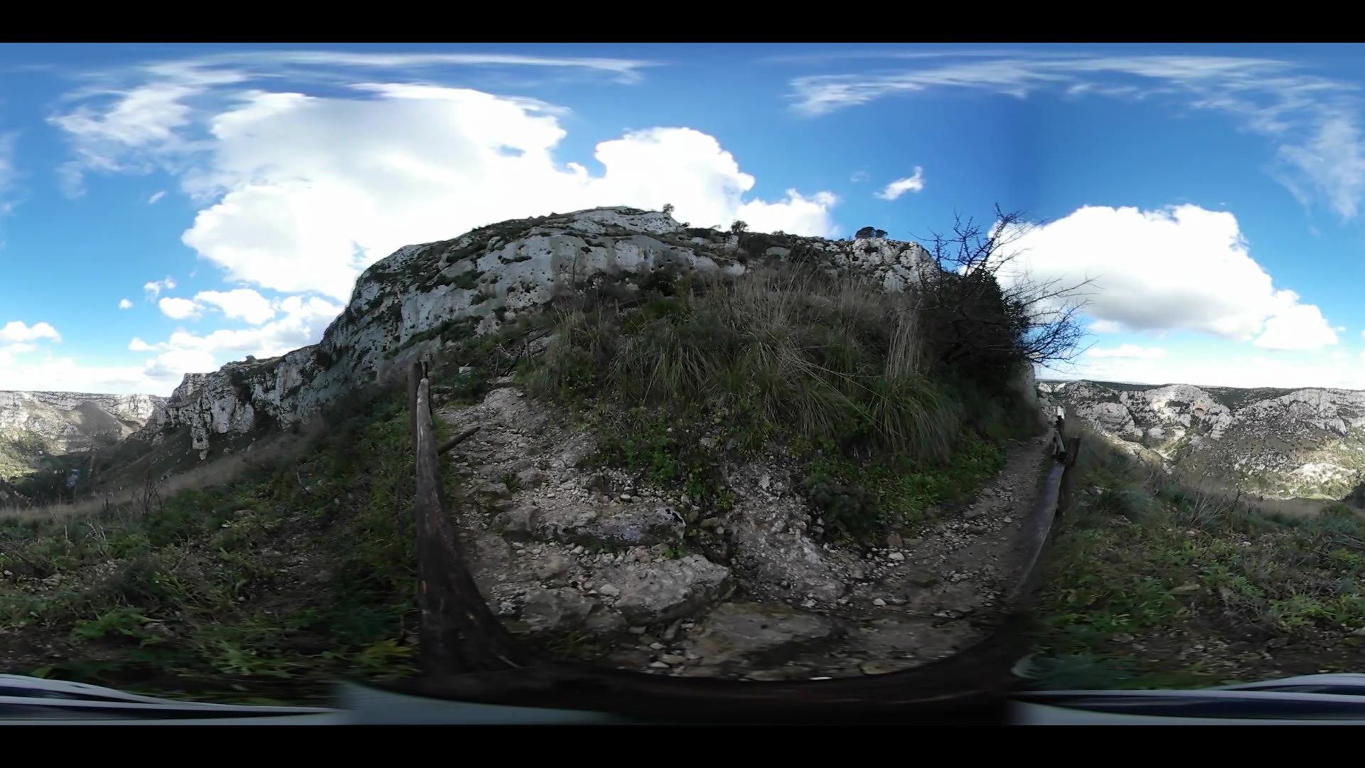 Virtual Reality 360 view from Oriented Nature Reserve Cavagrande in Italy