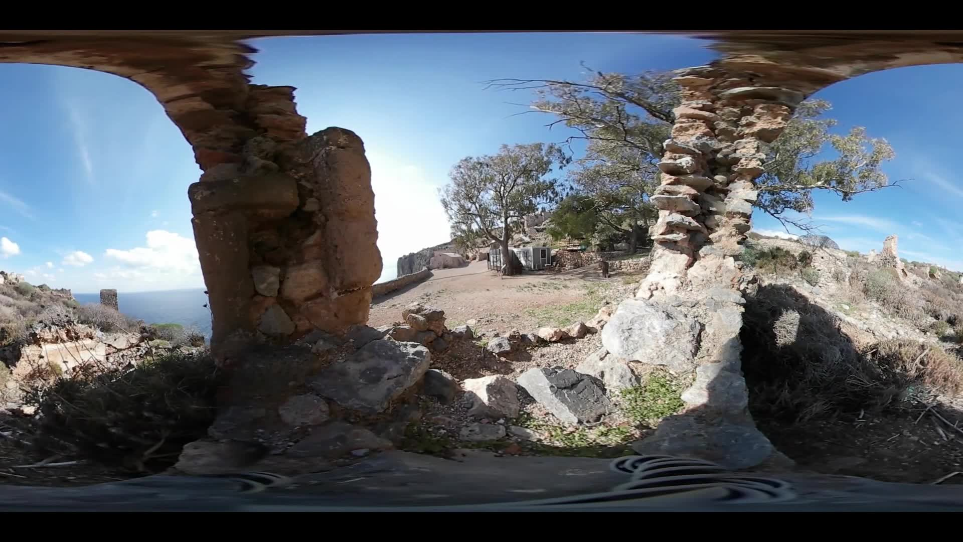 Virtual Reality 360 view from ruins in the village Monemvasia Greece