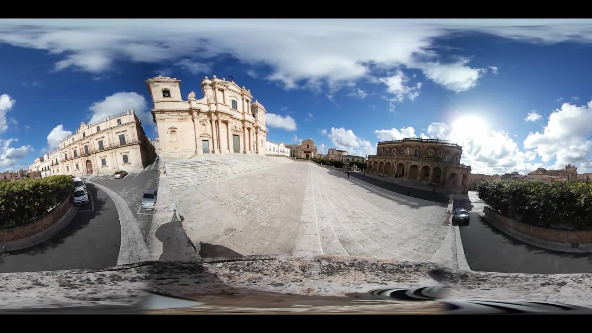 Virtual Reality 360 view from the city Noto in Italy
