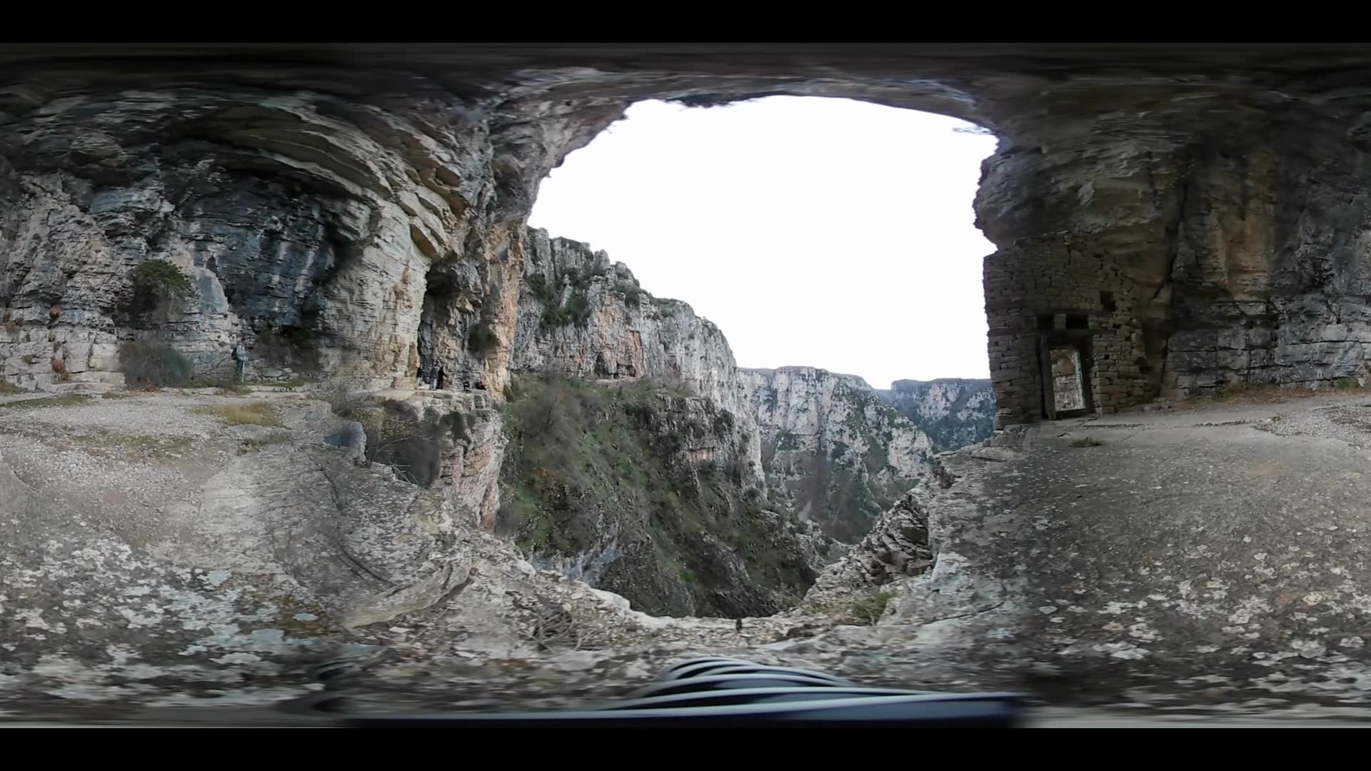 Virtual Reality 360 view from The Vikos Gorge in the Pindus Mountains of northern Greece