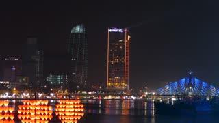 View from Cầu Tàu Tình Yêu at night in Da Nang Vietnam