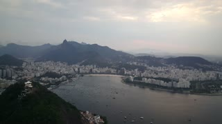 View from peak of the Sugarloaf Mountain in Rio de janeiro Brazil