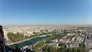 View from the Eiffel tower on a sunny day in Paris, France