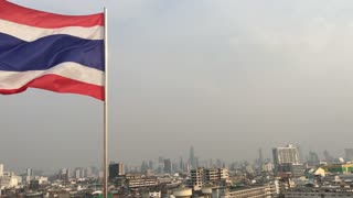 View from the golden mount with the Thai flag in Bangkok, Thailand