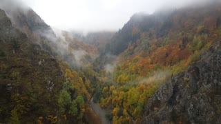 View from the vidraru dam during autumn in Romania