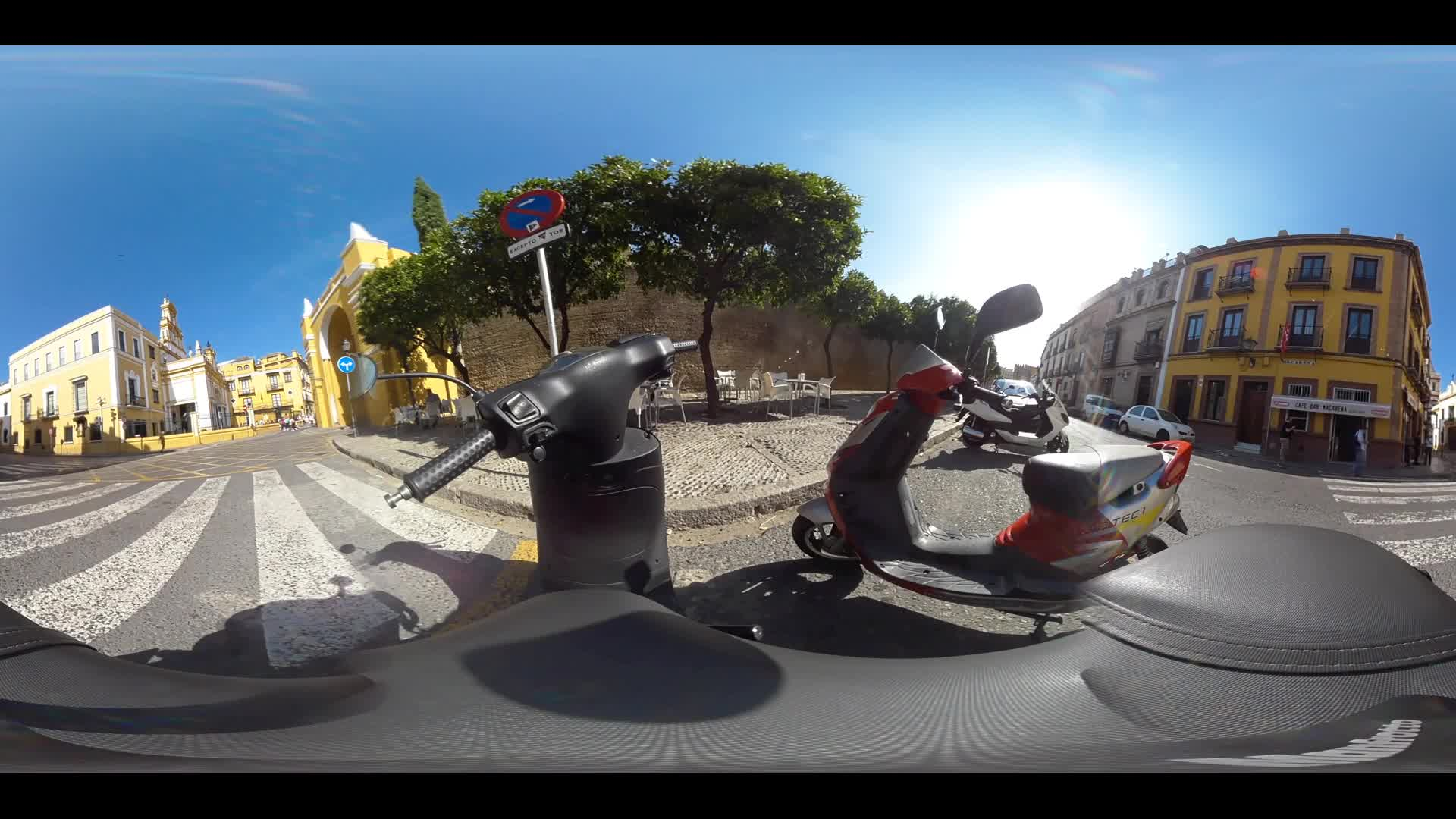 Virtual Reality 360 view around the San Gil Abad and the Basílica de la Macarena in Seville Spain