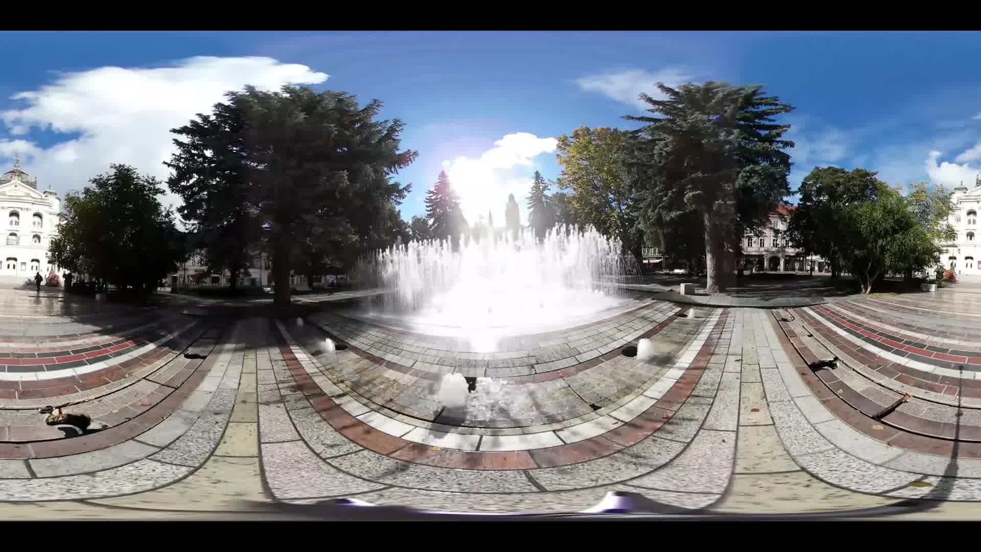 Virtual Reality 360 view from a fountain and the park and State Theatre Kosice in Slovakia