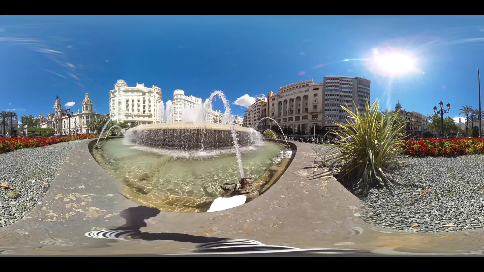 Virtual Reality 360 view from a fountain at Plaça de l'Ajuntament in Valencia in Spain