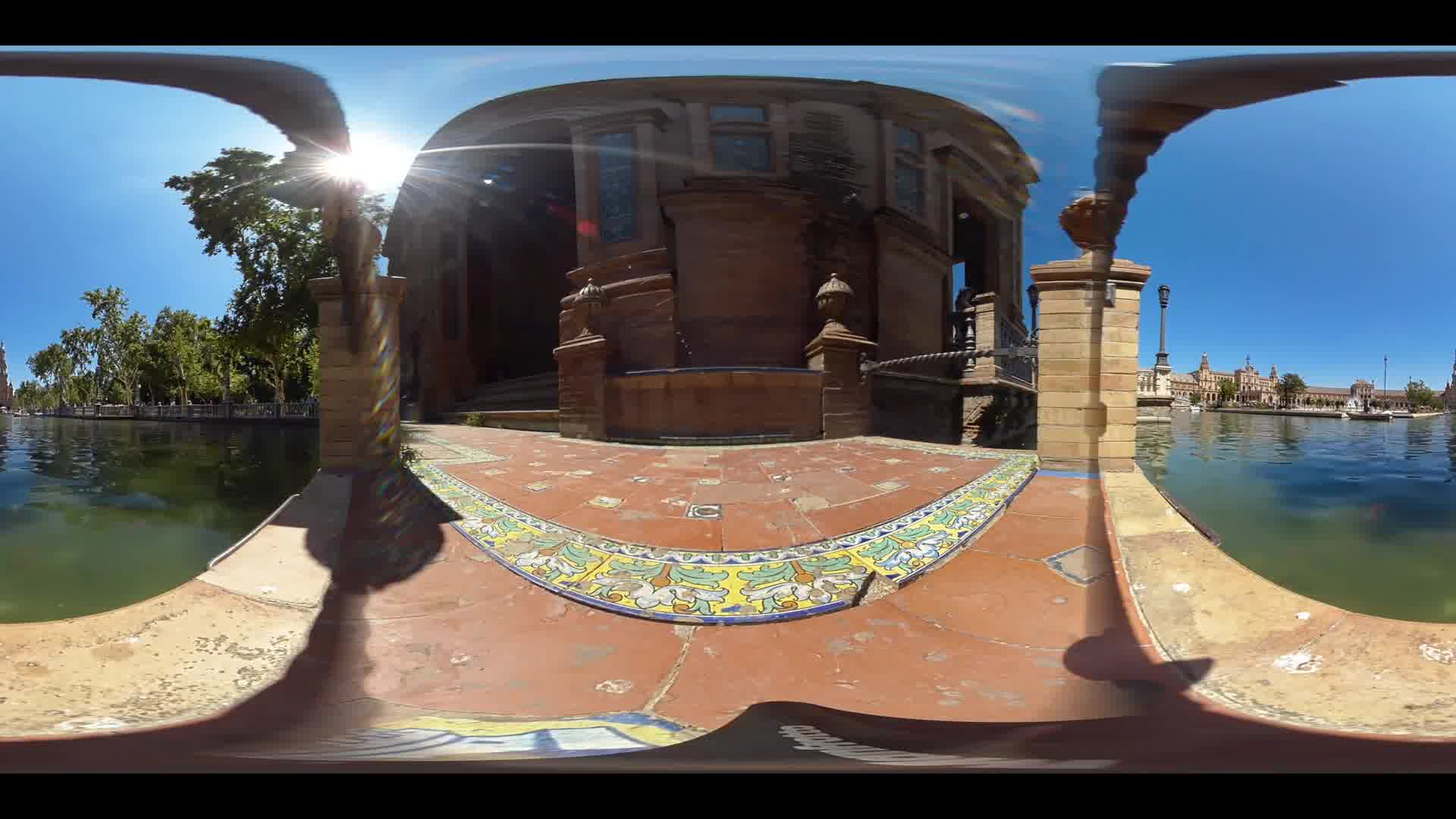 Virtual Reality 360 view from canal next to the Plaza de Espana in Seville Spain