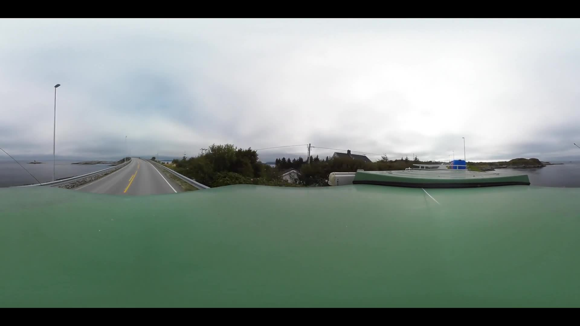 Virtual Reality 360 view from driving the Atlantic road in Norway