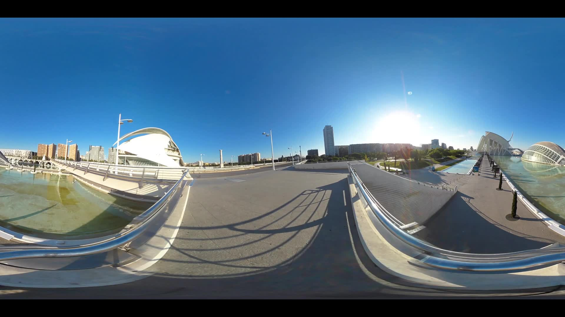 Virtual Reality 360 view from L'Hemisferic building and the Berklee College of Music at the City of Arts and Sciences in Valencia Spain