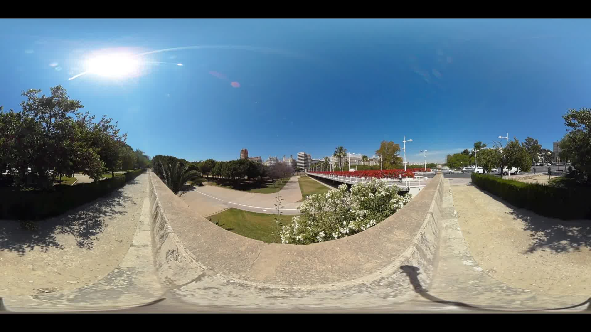 Virtual Reality 360 view from next to the Pont de les Flors in Valencia Spain