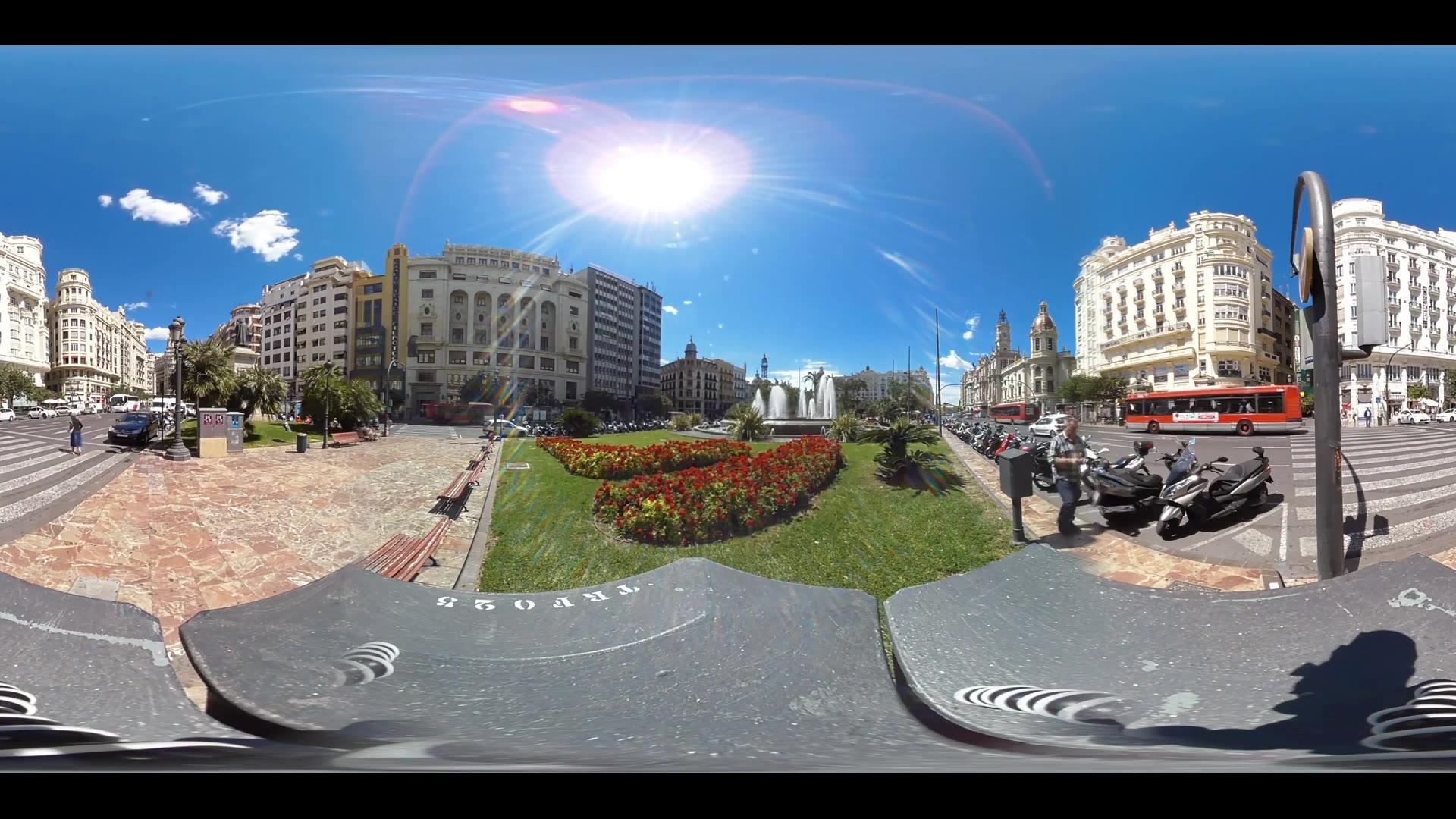 Virtual Reality 360 view from Plaça de l'Ajuntament in Valencia in Spain