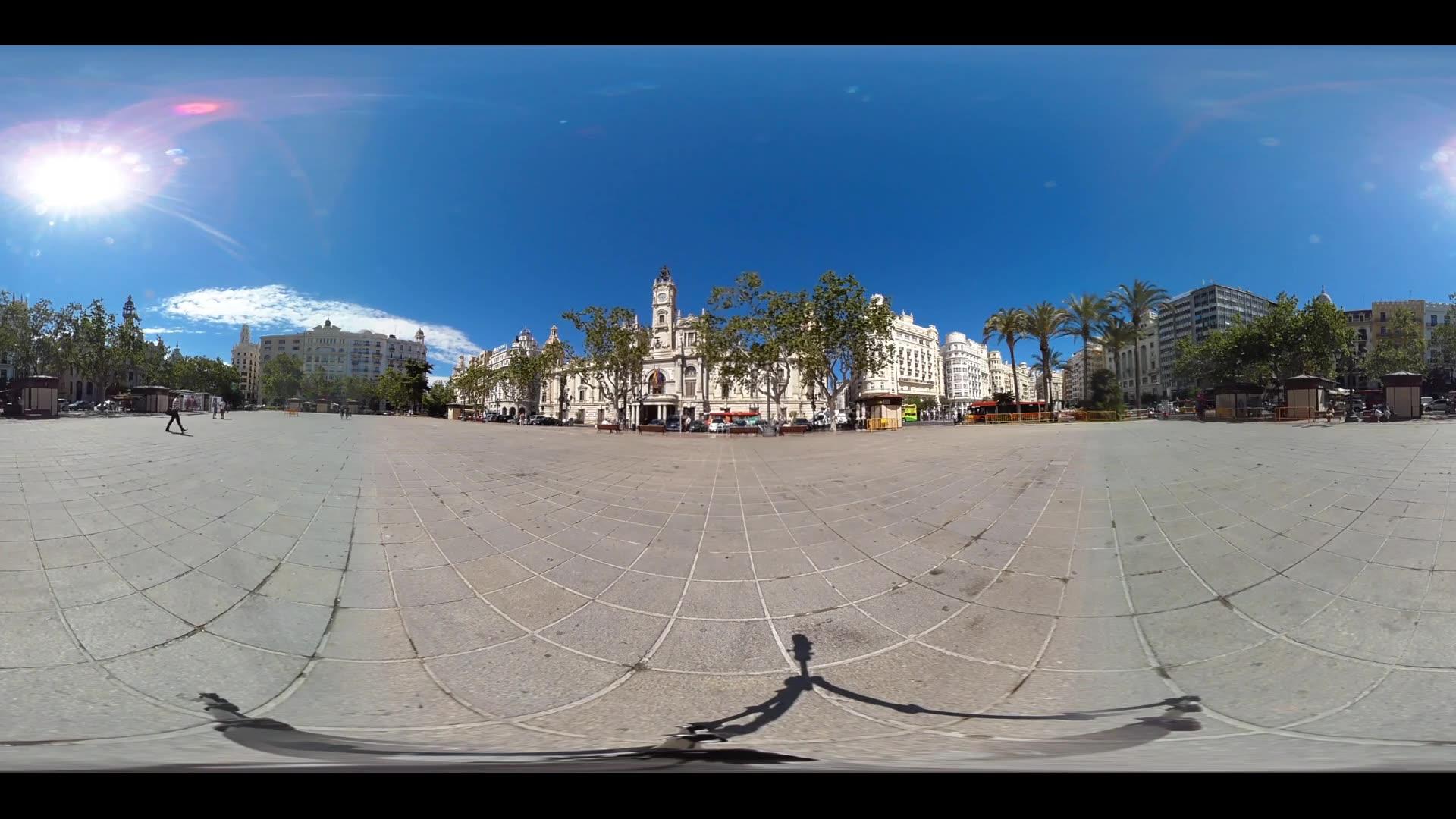 Virtual Reality 360 view from plaza Ayuntamiento De Valencia in Spain