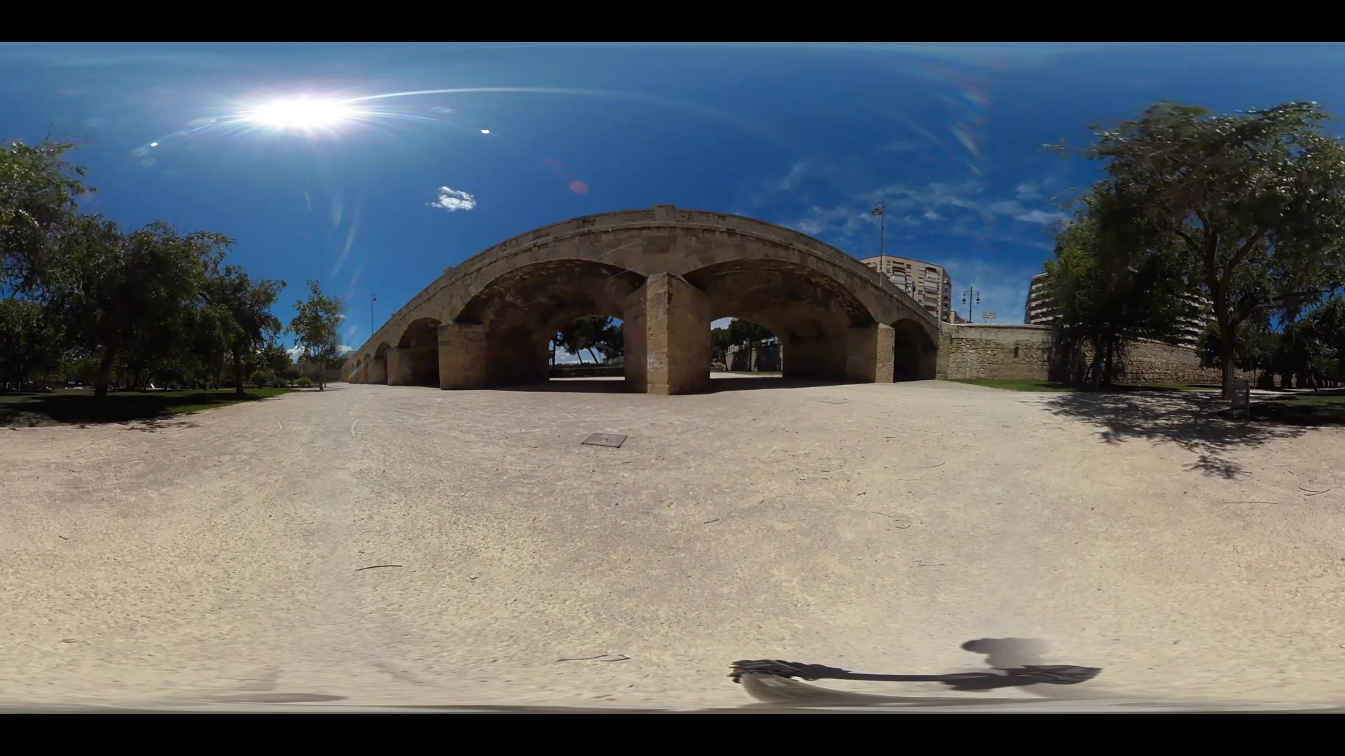 Virtual Reality 360 view from Pont del Real in Valencia Spain