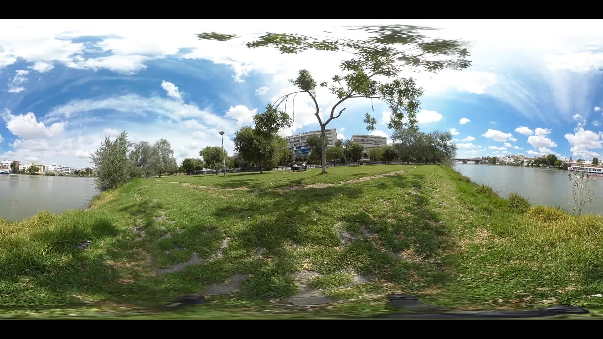 Virtual Reality 360 view from the Canal de Alfonso XIII in Seville Spain