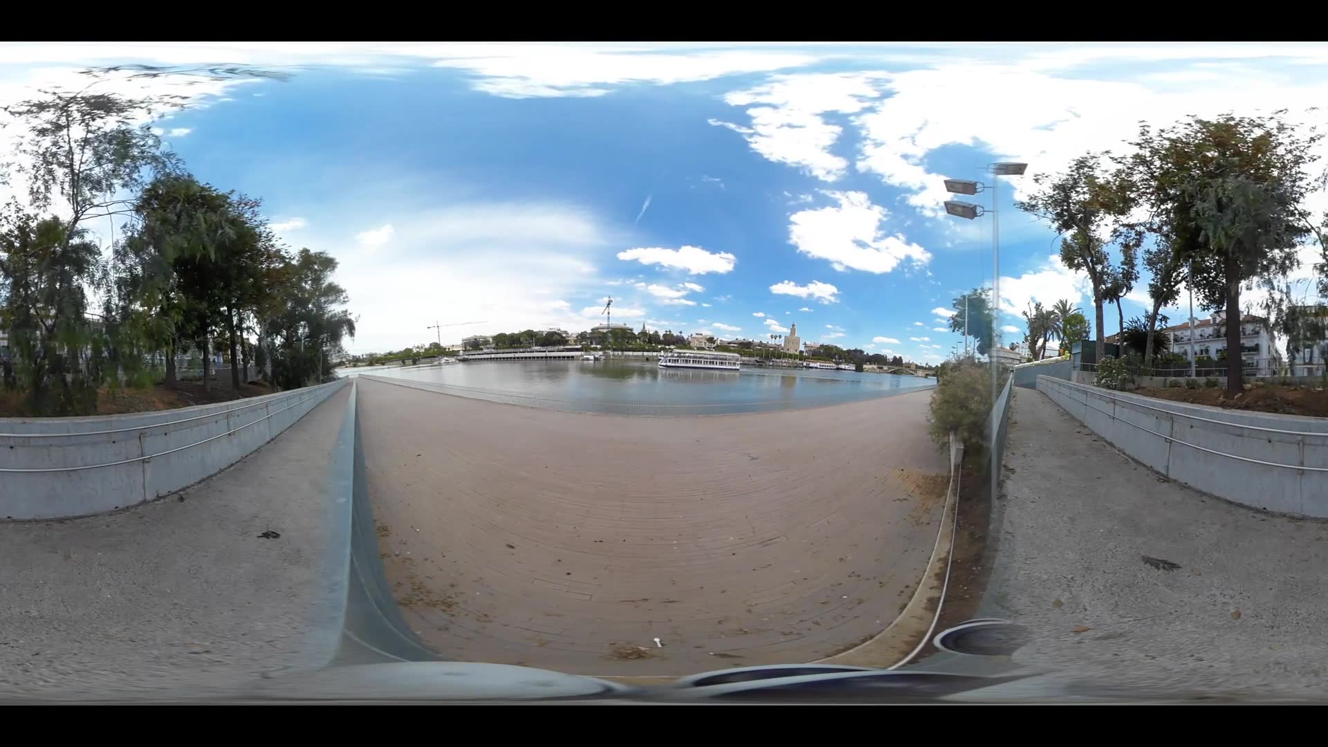 Virtual Reality 360 view from the Canal de Alfonso XIII with the Torre del Oro in Seville Spain