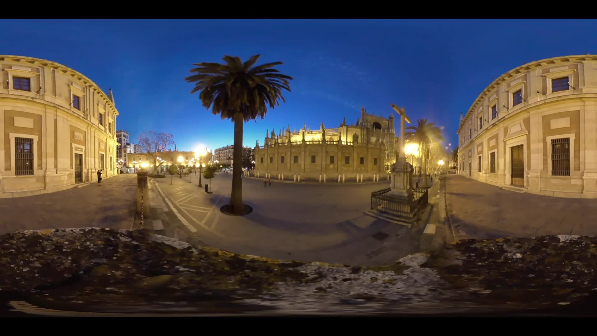 Virtual Reality 360 view from the Cathedral of Saint Mary of the See (Seville Cathedral) at night in Seville Spain
