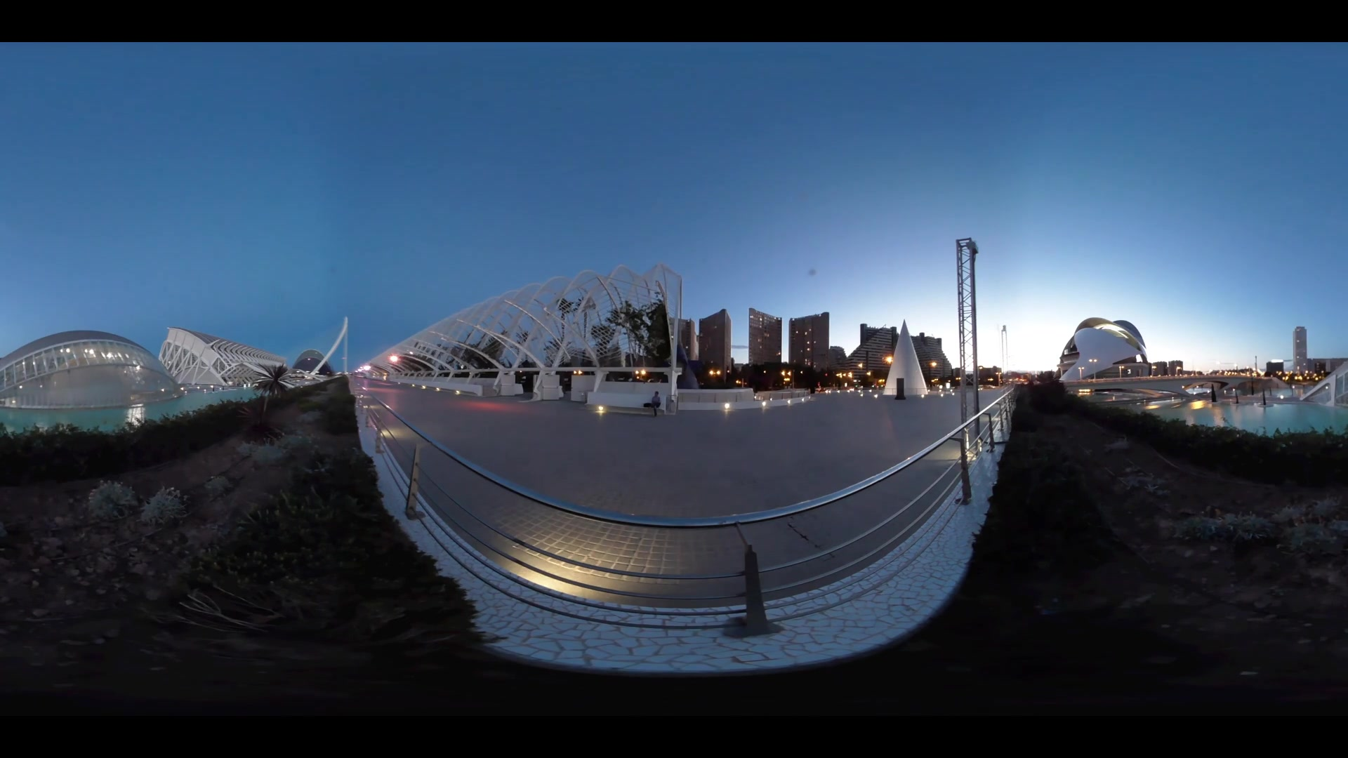 Virtual Reality 360 view from the L'Hemisferic building and the Berklee College of Music at the City of Arts and Sciences in Valencia Spain