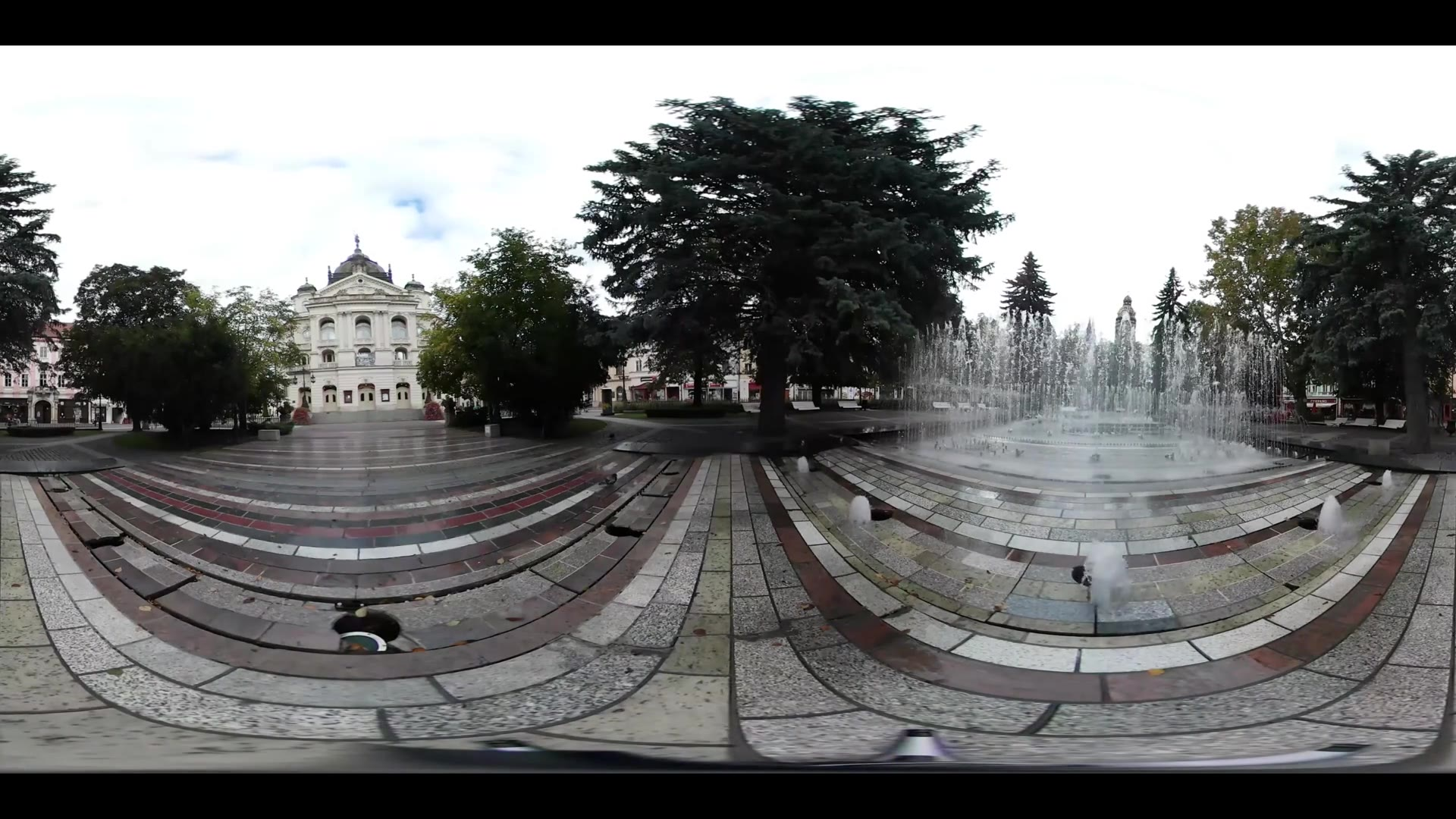 Virtual Reality 360 view from the park and State Theatre Kosice in Slovakia