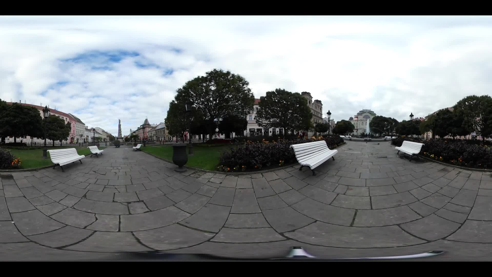 Virtual Reality 360 view from the park and the fountain of signs in Kosice Slovakia