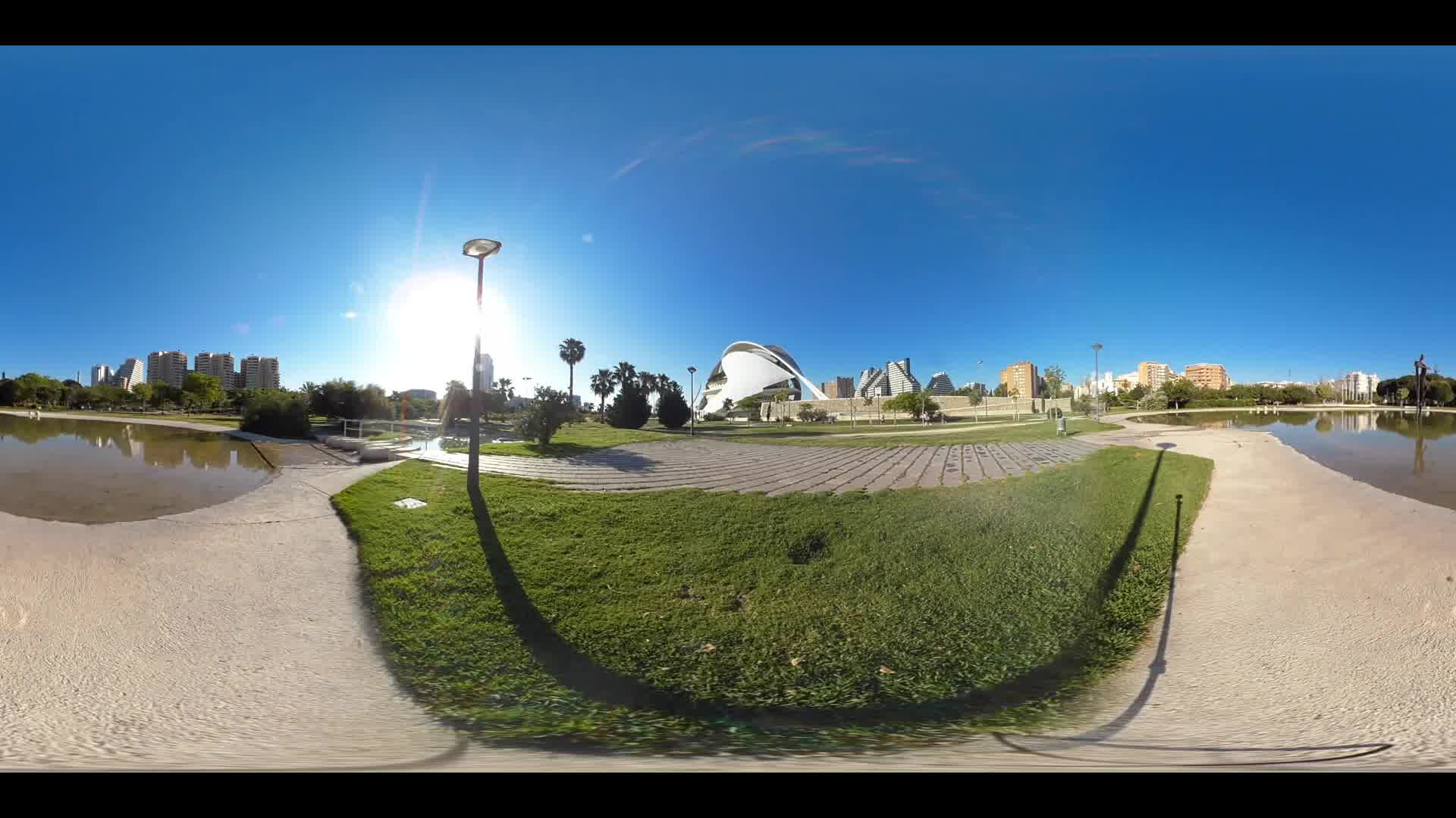 Virtual Reality 360 view from the turia gardens and the Berklee College of Music in Valencia Spain