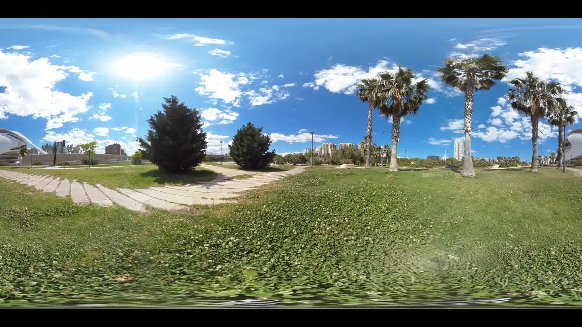 Virtual Reality 360 view from Turia gardens and the Berklee College of Music in Valencia Spain