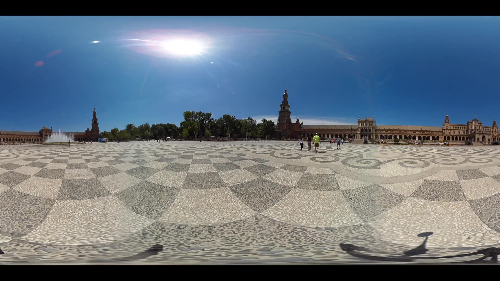 Virtual Reality 360 view of the Plaza de Espana in Seville Spain