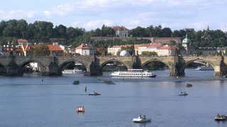Vltava river and charles bridge time lapse, Prague