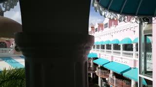 Walking in the colorful Royal Plaza Mall in Oranjestad Aruba