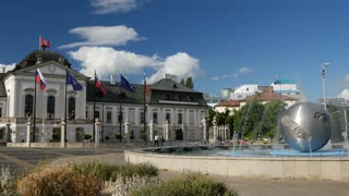 Water Fountain and The Presidents (or Grassalkovich) palace in Bratislava Slovakia