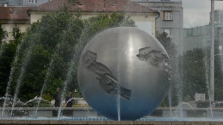 Water Fountain in front of The Presidents (or Grassalkovich) palace in Bratislava Slovakia